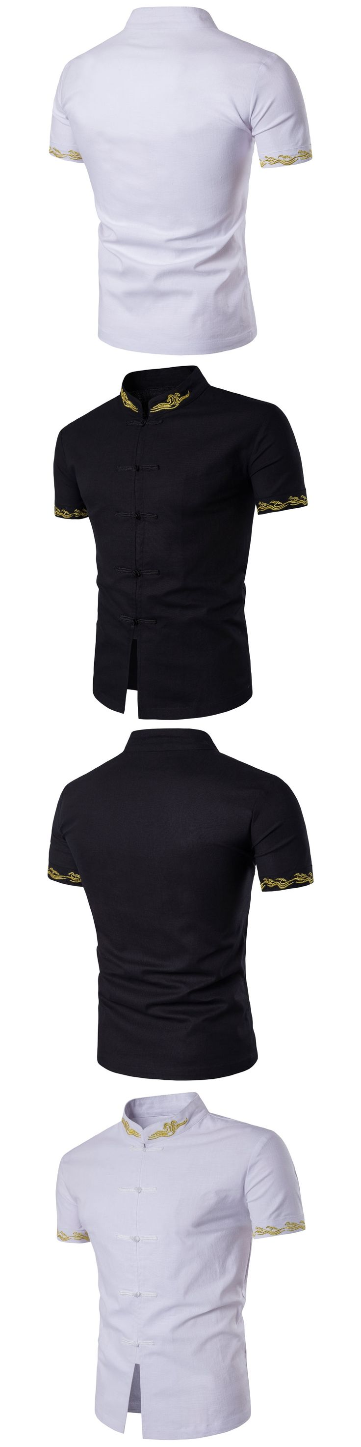 Chinese Style Cotton Men Shirts Embroidered Casual Male Shirt Slim Fit Mens Formal Shirts Short Sleeve White Black Camisa Hombre