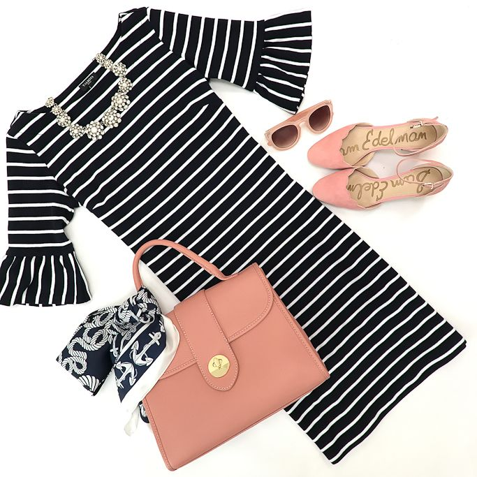 striped fluted sleeve shift dress, scalloped flats, pink sunglasses, blush pink top handle pebbled leather satchel, anchor silk scarf