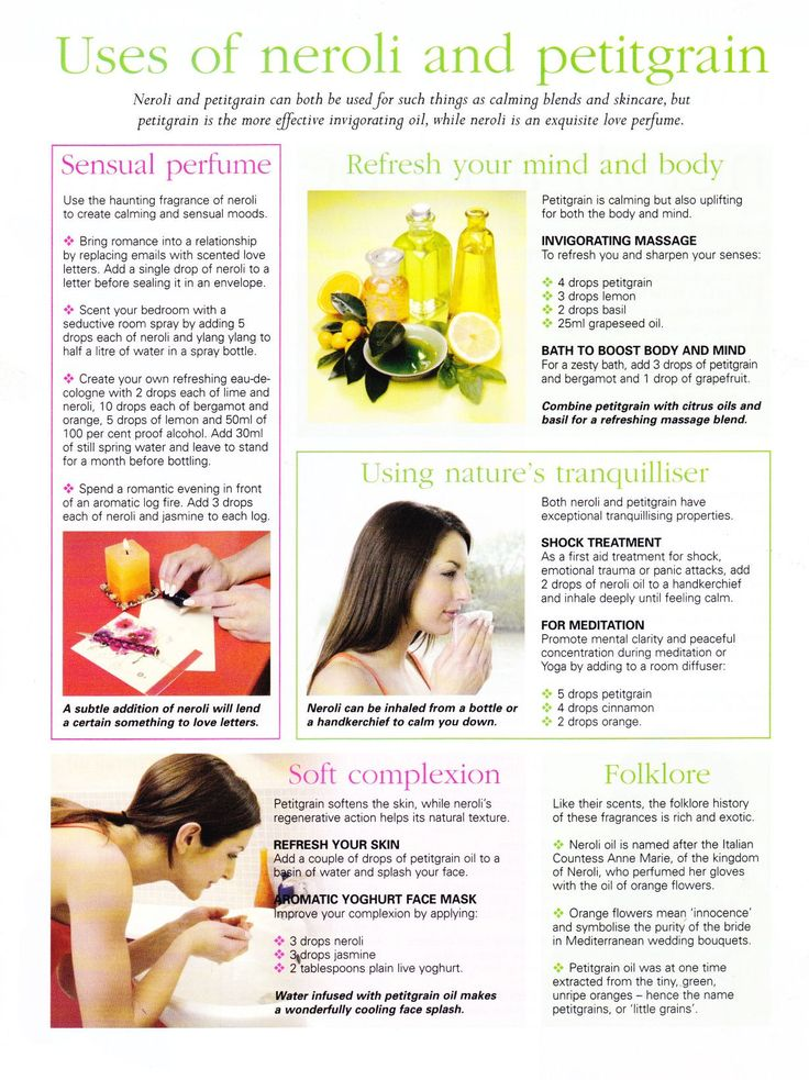Pinned for the massage blend and diffuser blend - essential oil neroli petitgrain