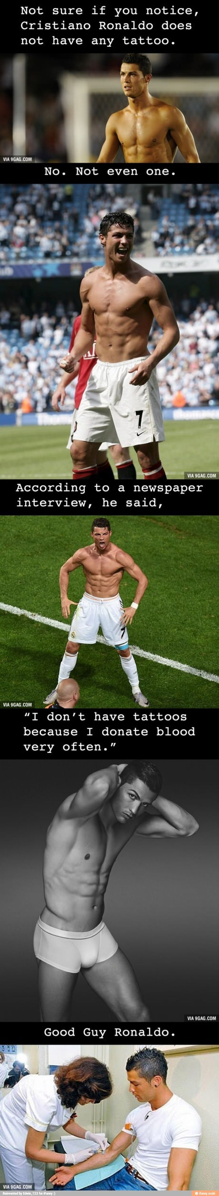 Mystery solved why you won 39 t find a tattoo on cristiano for Can i give blood if i have a tattoo