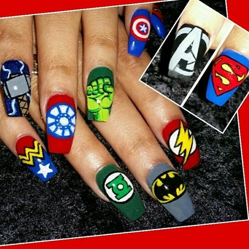 The Avengers vs The Justice  League  by Oli123 from Nail Art Gallery