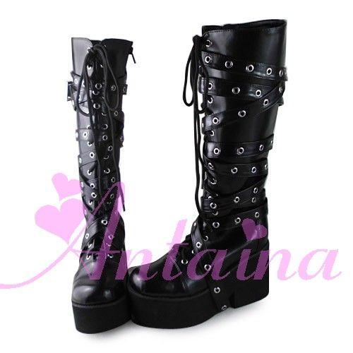 Принцесса сладкий лолита готический , потому обувь на лолита потому панк ботинки 1302 пу перо купить на AliExpress