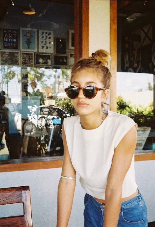indie, boho, Messy bun, white tee, denim & round vintage sunglasses