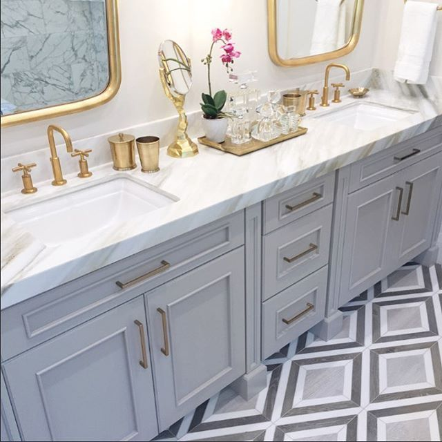 Double Sink Vanity Gray Blue Cabinets Gold Fixtures And Mirrors