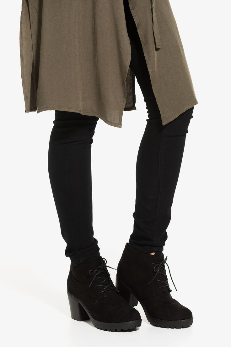 Laced suede booties