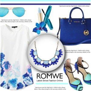 Print Shift Dress with Romwe