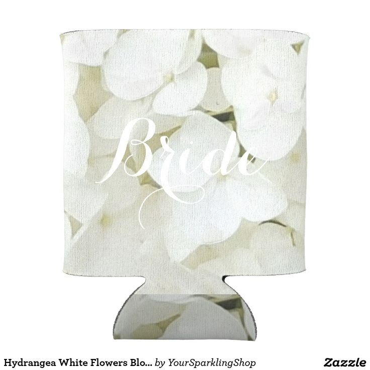 #Hydrangea White Flowers Blossom Elegant #Floral Bottle or Can Cooler #addyourname
