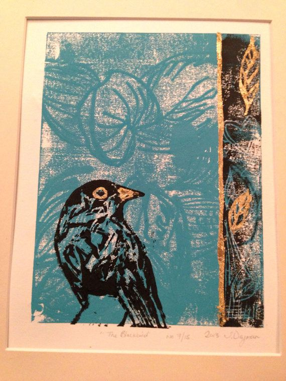 The Blackbird Lino Mono Print by sarahweymanart on Etsy, £27.00