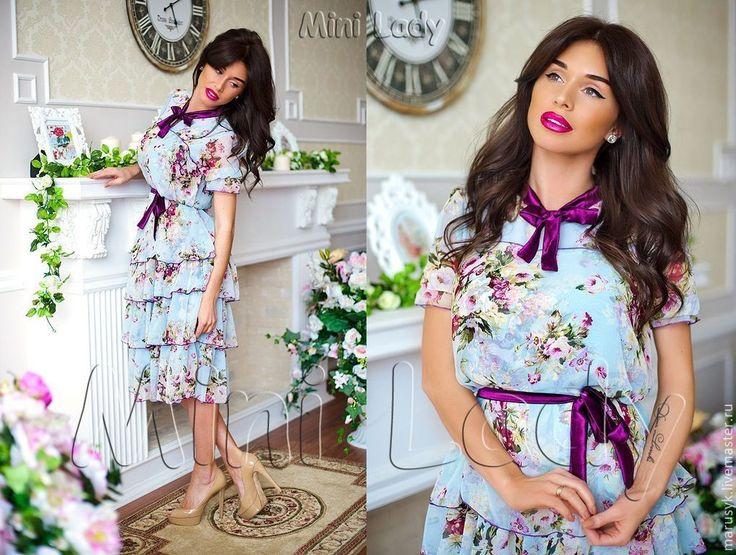 Купить Платье Бабочка-1 - голубой, цветочный, платье летнее, платье для девочки, платье вечернее