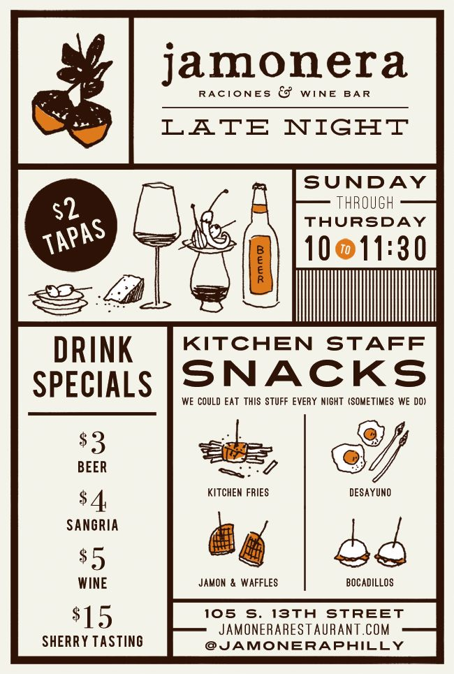 Jamonera Latenight Menu by Kathryn Whyte. Love the illustrations and layout!