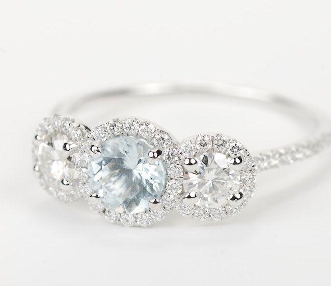 Aquamarine Three Stone Halo Diamond Engagement Ring - 14K White Gold