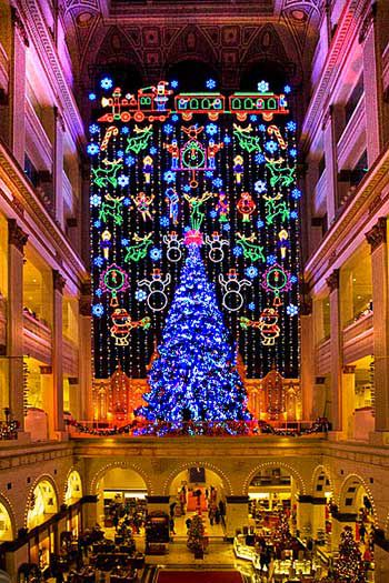 2012 Macy's Christmas Light Show. Grand Court, every hour on the hour.  Rent-Direct.com - No Fee Rental Apartments in NY.