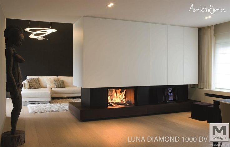 Lareira  M.Design Luna DIAMOND 1000 DV Dupla face Portas subir
