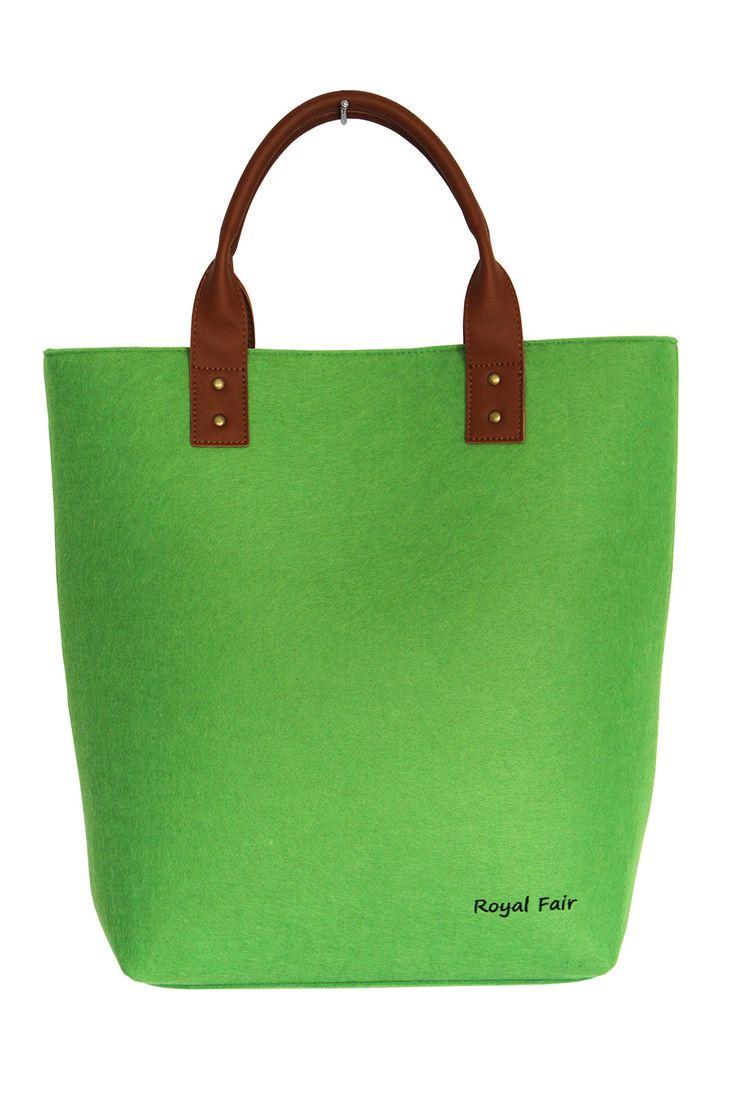 Women's Felt Handbag Genuine Leather Handle Large Tote Bags for Woman Royal Fair (Green)