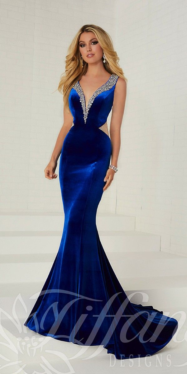 cdf2d70f4a9a Open Back Tiffany Designs Velvet Prom Gown - Tiffany Designs - 16268 -   390.00