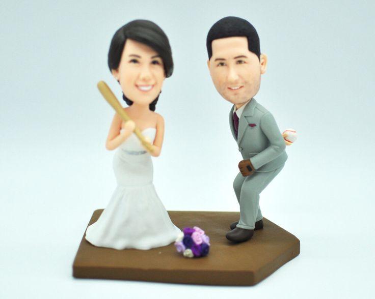 Baseball Wedding Cake Topper,Custom Cake Topper,Custom Bobbleheads,Cake Topper For Wedding,Look Like You Figurines by CakeTopperArtStudio on Etsy https://www.etsy.com/listing/252126416/baseball-wedding-cake-toppercustom-cake