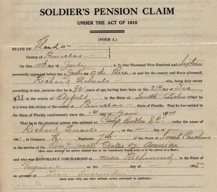 Richard Quarls and the Dead Manu0027s Pension Dead Confederates - pension service claim form