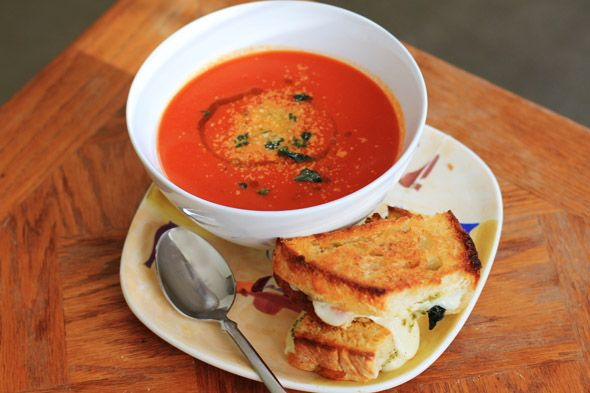 Tom and Chee. This soup variation is a great idea, but I'm really lovin' the grilled mozzarella cheese sandwich.