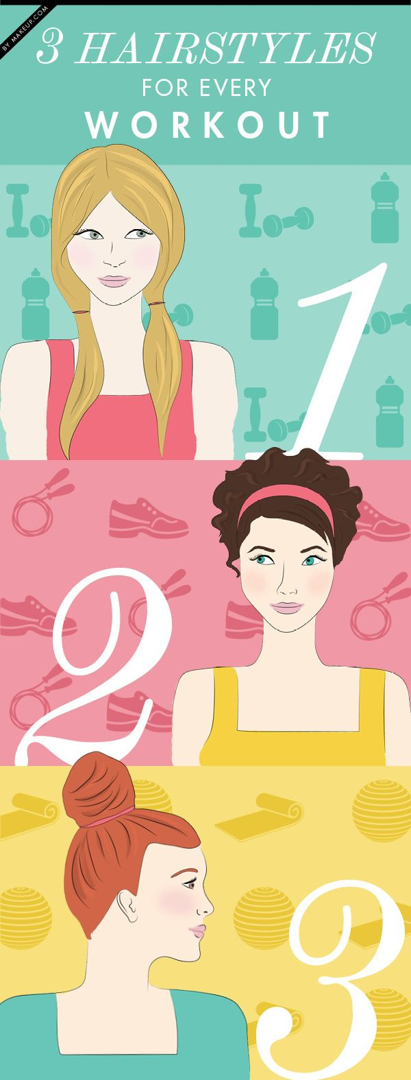 The 3 Best Hairstyles for ANY Workout by makeup.com #Hairstyle #Workout