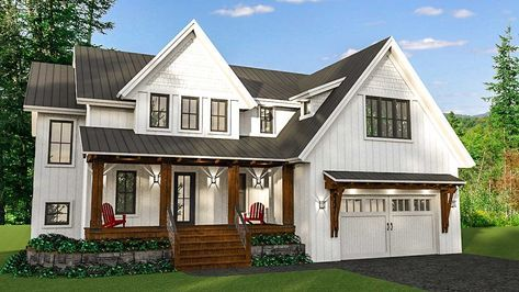 Modern Farmhouse with Optional Finished Lower Level - 14654RK   Architectural Designs - House Plans