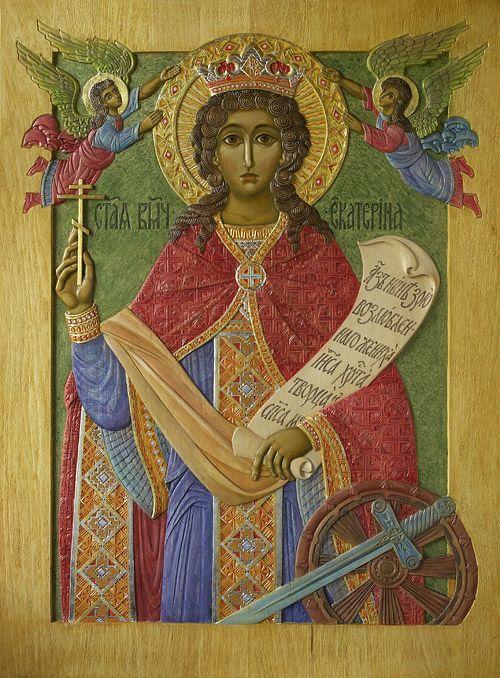 «Св.Екатерина», 2011 г., 105х77 см (липа, резьба, пигменты, цветные металлы)