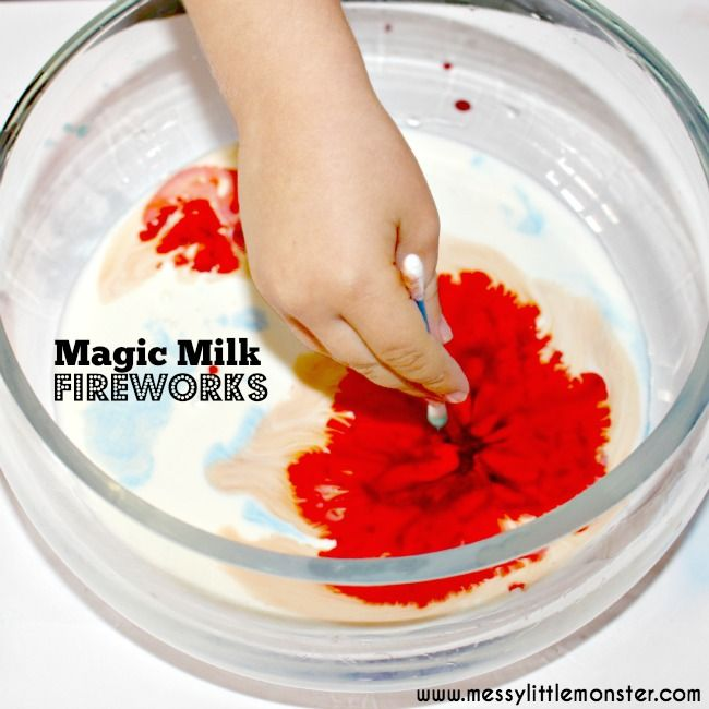 Magic milk fireworks science experiment for kids.  Simple experiments for preschoolers upwards.