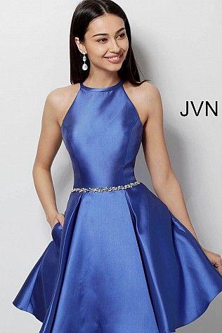 5dd3c360cbb9af Royal Fit and Flare Crystal Embellished Belt Homecoming Dress JVN63717 #JVN  #Homecoming #shortdress #cocktaildress #party #collection2018