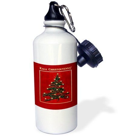 3dRose Kala Christouyenna, Merry Christmas in Greek, Christmas Tree on Red , Sports Water Bottle, 21oz