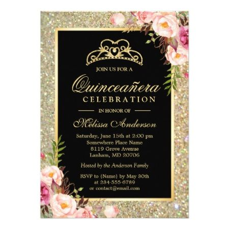 Quinceanera Birthday Floral Gold Glitter Sparkles Card - click/tap to personalize and buy