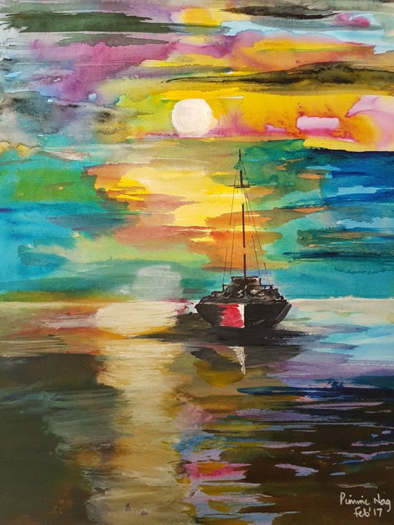 Boat in the water by ChezPimmi on Etsy