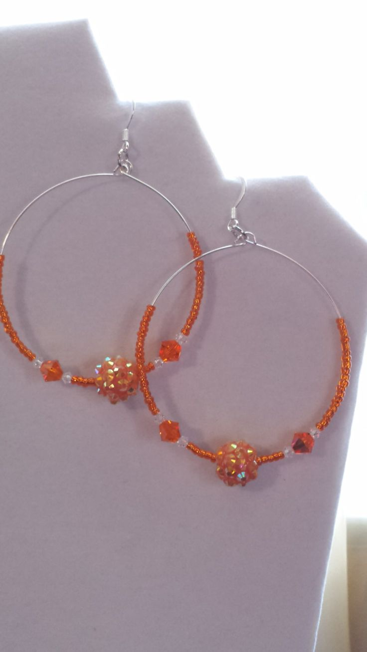 Orange Sparkling Hoop Earrings by Sounique2013 on Etsy, $15.00