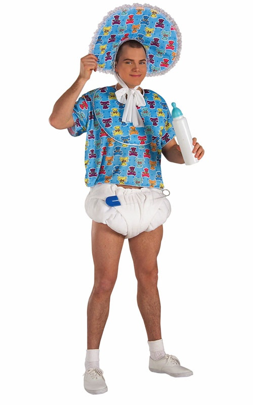 Adult Baby Costume. This could be the inspiration for a great baby shower game ;p ....HAHHAH. YA THINK AARON WOULD WEAR THIS.
