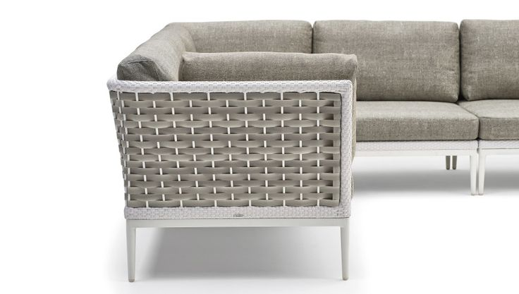 Collection in hand-woven man-made fibre with painted aluminum frame, composed by modular elements, suitable for the furnishing of a terrace, a garden or a swimming-pool area. The weaving is white on the outer frame and taupe inside. The joints to fix the elements together are supplied with the sofas. #modularsofa #designsofa #designfurniture #sofaforterrace #outdoorsofa #varaschin #contract #garden #gardensofa #pool #furnishingofterrace