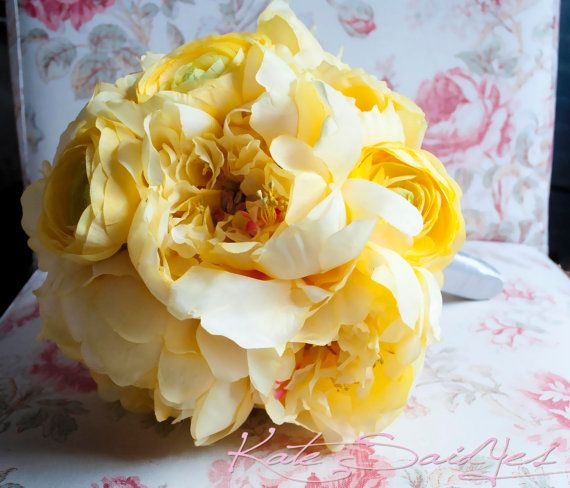 Yellow Peony and Ranunculus Bridal Bouquet