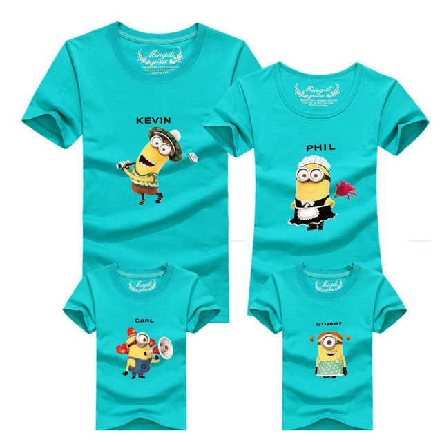 1Pcs Minion shirt Top quality cartoon t shirts camisetas despicable me minions clothes minion costume boys clothes Family fitted