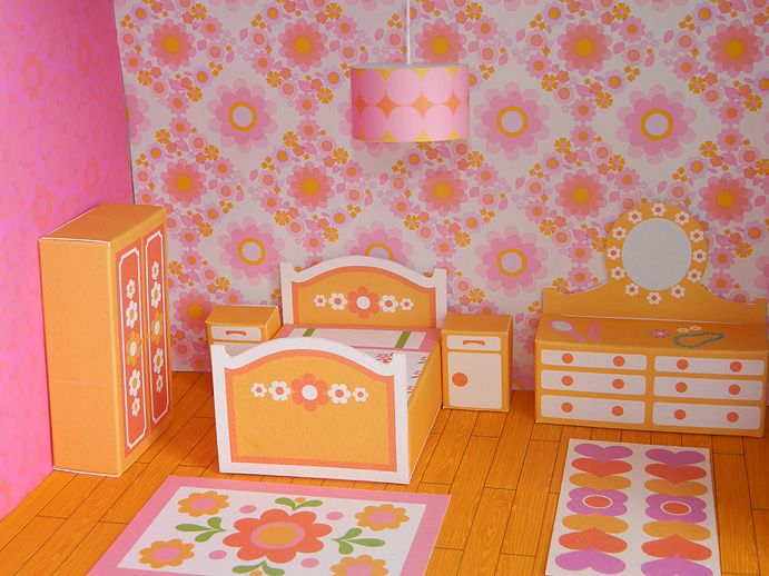 """Love this super retro """"Dream Bedroom"""" dollhouse printable! More rooms coming soon!"""