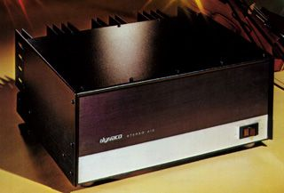 Dynaco Stereo 410 Power Amplifier. 200 watts per channel. Power Output Ratings: Less than 0.1% total harmonic distortion at any power level up to 200 watts continuous average power per channel into 8 ohms (100 watts per channel into 16 ohms) at any frequency between 20 Hz and 20 KHz with both channels driven