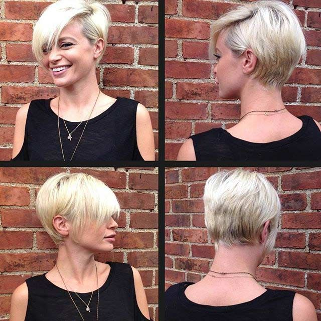 Long platinum-blonde pixie hairstyle with dark roots