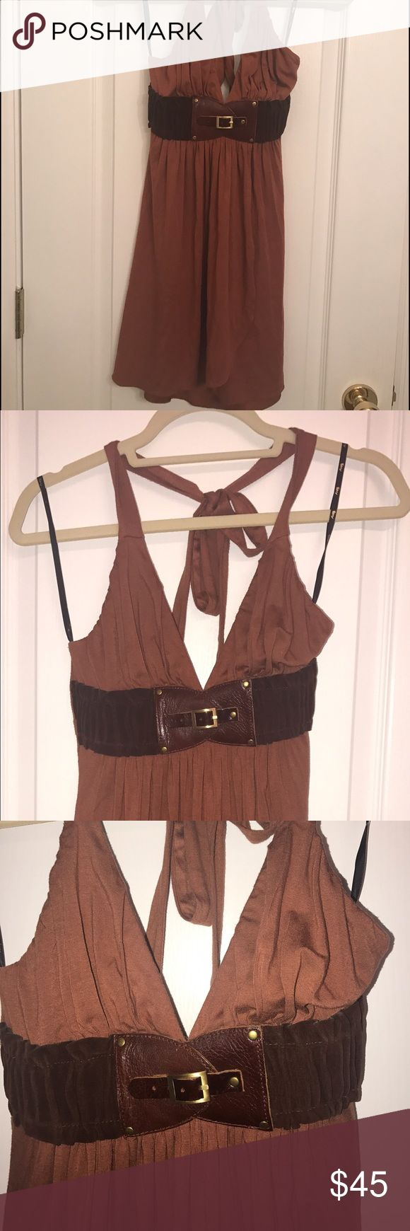 Sky brand brown mini dress S Sky brand brown mini dress with suede belt size S. Ordered the cute dress but never wore. All sales final. Sky Dresses Mini
