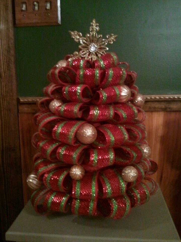 Christmas tree decorations with mesh - photo#55