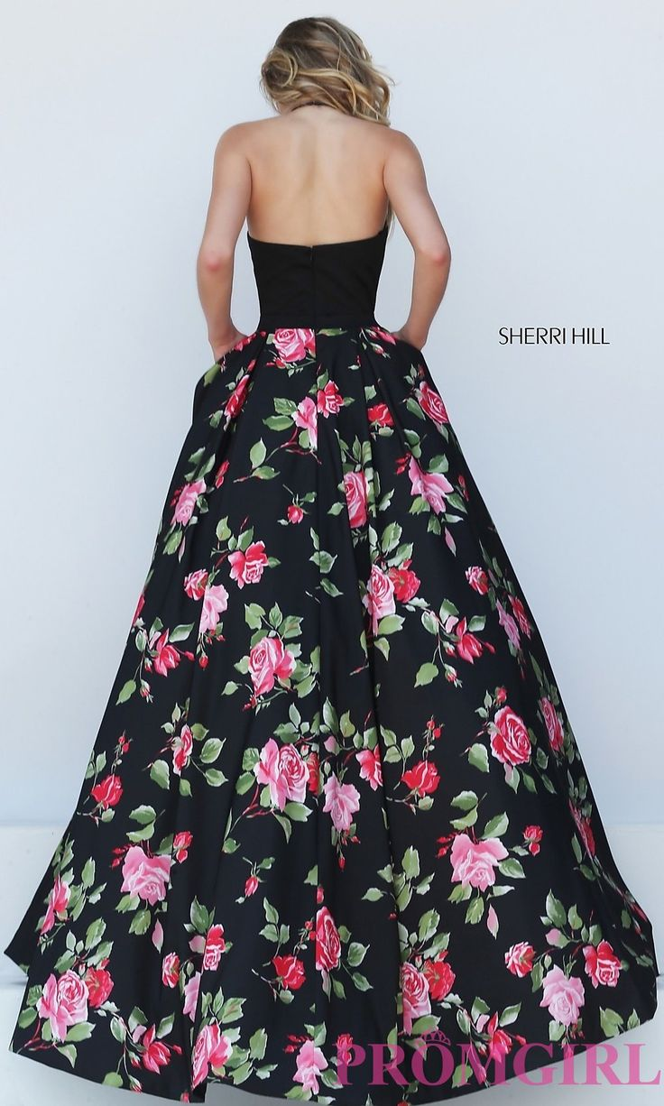 Image of floor length halter top floral print dress Style: SH-50333 Back Image