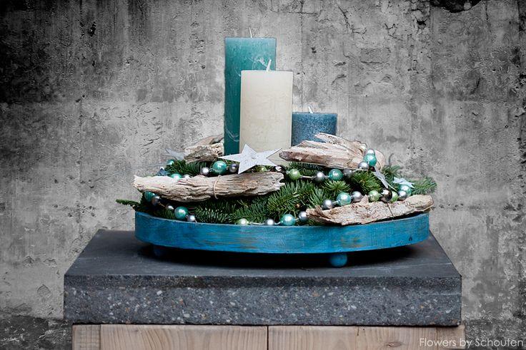 Home decoration christmas wreath in lovely blue.  http://instagram.com/flowersbyschouten https://www.youtube.com/channel/UCzjh8YsH8sK8kVK2A5licxw