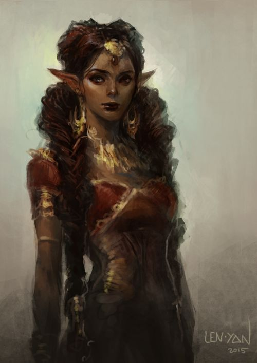 An elf of color, by artist len-yan on tumblr.