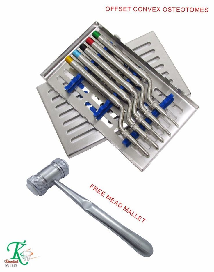 Sinus Osteotomes Offset Convex Tip Handles+Cassette With Free Mead Mallet New CE #tkplus