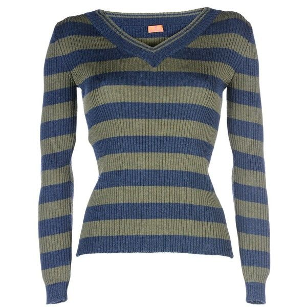 Gallo Jumper (£110) ❤ liked on Polyvore featuring tops, sweaters, military green, wool v-neck sweater, blue jumper, wool v neck sweater, striped sweater and wool sweater