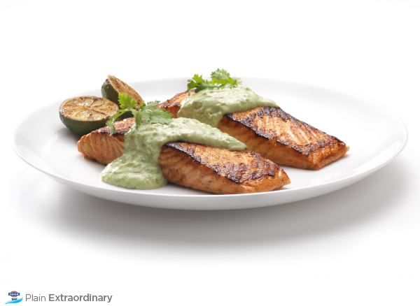 Bobby Flay's Tandoori-Style Salmon with FAGE Total Avocado Crema