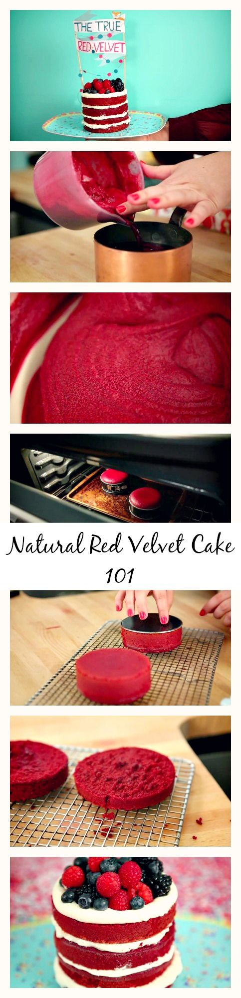 Learn step by step how to make a better improved all #natural #RedVelvetCake with frosting. Learn the story behind this famous #cake, when and why it was created. Learn all the tricks to #decorate the cake and make it super #red!