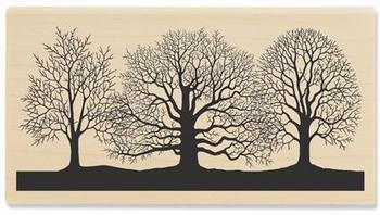 Winter Trees Silhouette - Rubber Stamps