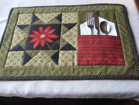 Place+Mats+Set+of+4+++Christmas+Designs+Black+by+TheCastleQuilter