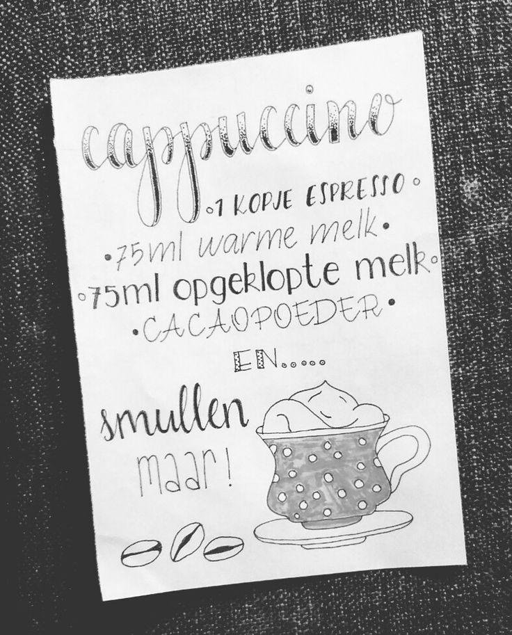 """""""Recept"""" voor cappuccino gehandletterd  intresse in dit kaartje of zelf een leuk recept wat je gehandletterd wil hebben neem contact op via www.doralijn.jouwweb.nl  . .  #doralijn #dutchlettering #letterart #lettering #modernlettering #handletteren #letters #handlettering #handlettered #handgeschreven #handdrawn #handwritten #creativelettering #creativewriting #creatief #typography #typografie #moderncalligraphy #handmadefont #handgemaakt #sketch #doodle #draw #cappuccino #illustrator"""